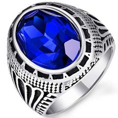 COI Titanium Ring With Created Blue Sapphire-5397