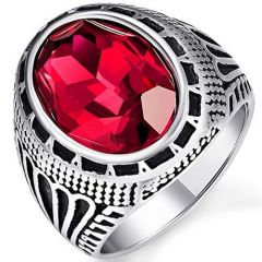 COI Titanium Ring With Created Red Ruby-5398