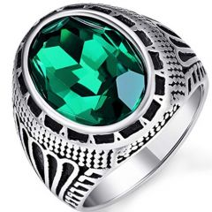 COI Titanium Ring With Created Green Emerald-5399