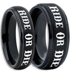 COI Black Titanium Ride or Die Step Edges Ring-5406
