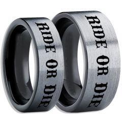 COI Titanium Black Silver Ride or Die Pipe Cut Flat Ring-5407