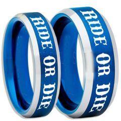 COI Titanium Blue Silver Ride or Die Beveled Edges Ring-5408