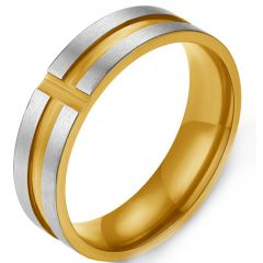 COI Titanium Gold Tone Silver Grooves Ring-5414