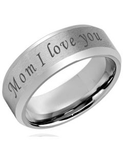 COI Titanium Mom I Love You Beveled Edges Ring-5420
