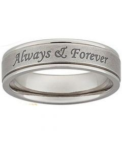 COI Titanium Always & Forever Double Grooves Ring-5421