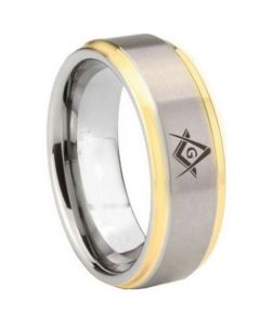 COI Titanium Gold Tone Silver Masonic Step Edges Ring-5442