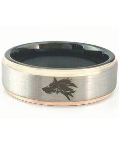 COI Titanium Black Rose Wolf Step Edges Ring-5446