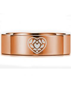 *COI Rose Titanium Zelda Heart Pipe Cut Flat Ring-5450