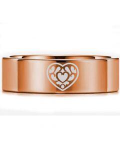 *COI Rose Titanium Zelda Heart Pipe Cut Flat Ring-5450