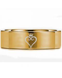 *COI Gold Tone Titanium Kingdom Heart Pipe Cut Flat Ring-5451