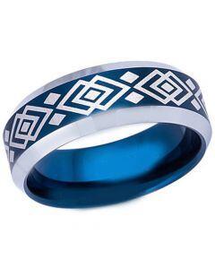 COI Titanium Blue Silver Celtic Beveled Edges Ring-5491