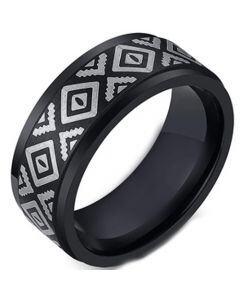 COI Black Titanium Celtic Step Edges Ring-5495
