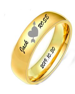 COI Gold Tone Titanium Heart Dome Court Ring With Custom Names Engraving-5496