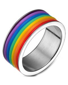 COI Titanium Silver/Black Rainbow Pride Ring-5503