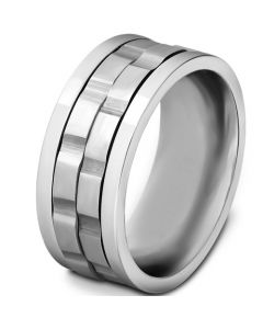 COI Titanium Tire Tread Brick Pattern Ring-5533