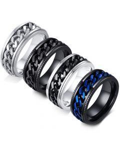**COI Titanium Silver/Black/Silver Black/Black Blue Chain Link Ring-5566