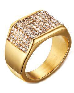 COI Gold Tone Titanium Ring With Cubic Zirconia-5576