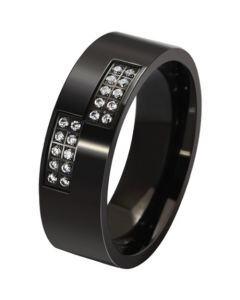 COI Black Titanium Pipe Cut Flat Ring With Cubic Zirconia-5579