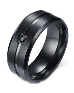 *COI Black Titanium Beveled Edges Ring With Cubic Zirconia-5583