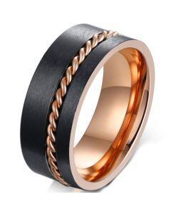 *COI Titanium Black Rose Offset Wire Pipe Cut Flat Ring-5584