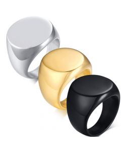 COI Titanium Black/Silver/Gold Tone Signet Ring-5587