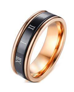 COI Titanium Black Rose Step Edges Ring With Roman Numerals-5589