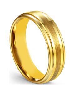 COI Gold Tone Titanium Center Line Step Edges Ring-5599