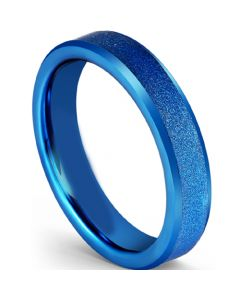 COI Blue Titanium Sandblasted Beveled Edges Ring-5601