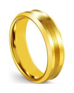 COI Gold Tone Titanium Center Line Beveled Edges Ring-5606