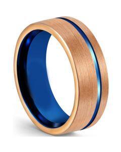 COI Titanium Blue Rose Offset Groove Pipe Cut Flat Ring-5610
