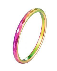 COI Titanium Rainbow Pride Faceted Ring-5622