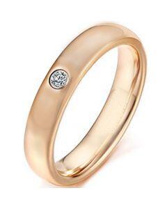 COI Rose Titanium Dome Court Ring With Cubic Zirconia-5623