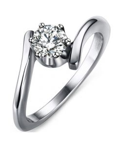 COI Titanium Solitaire Ring With Cubic Zirconia-5629
