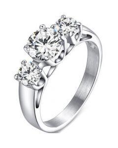 COI Titanium Three Stones Ring With Cubic Zirconia-5630