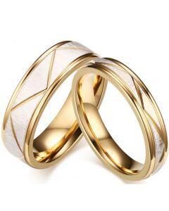 COI Titanium Gold Tone Silver Diagonal Grooves Step Edges Ring-5632