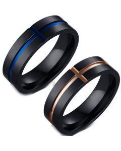 COI Titanium Black Blue/Rose Cross Pipe Cut Flat Ring-5644