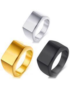 COI Titanium Black/Silver/Gold Tone Signet Ring-5647