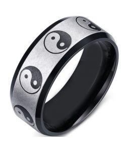COI Titanium Black Silver Yin Yang Beveled Edges Ring-5650