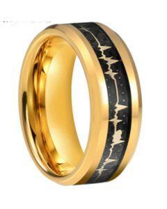 COI Gold Tone Titanium Heartbeat Beveled Edges Ring With Carbon Fiber-5660