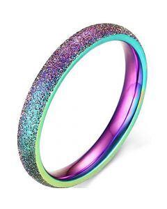 COI Titanium Rainbow Pride Sandblasted Dome Court Ring-5666