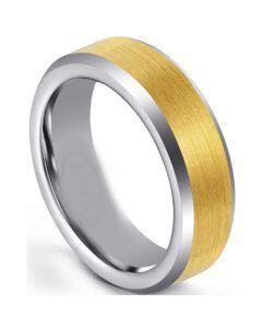 COI Titanium Gold Tone Silver Beveled Edges Ring-5671
