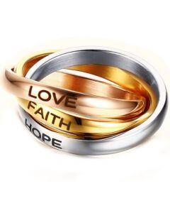 COI Titanium Gold Tone Rose Silver Love Faith Hope Dome Court Ring-5681