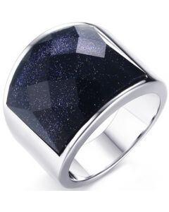 COI Titanium Ring With Black Agate-5693