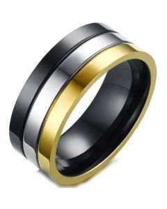 COI Titanium Gold Tone Black Silver Double Grooves Pipe Cut Flat Ring-5696