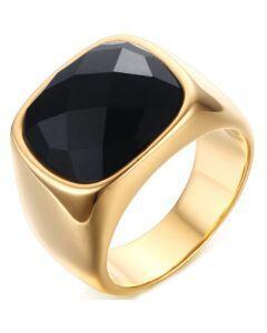COI Gold Tone Titanium Ring With Black Agate-5710