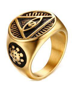 COI Gold Tone Titanium God's Eye Ring-5717