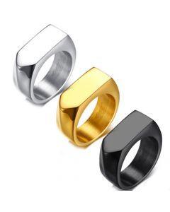 COI Titanium Silver/Black/Gold Tone Signet Ring-5718