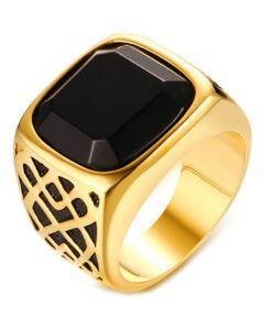 COI Titanium Black Gold Tone Ring With Black Agate-5719