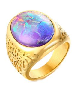 COI Gold Tone Titanium Ring With Crushed Opal-5721