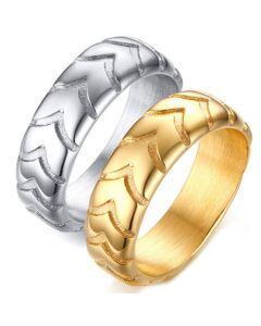COI Titanium Gold Tone/Silver Tire Tread Ring-5725